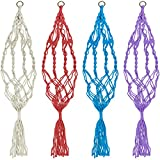 4 Pack 39 inches Plant Flower Pot Hanger for Indoor Outdoor Decorations, FineGood Hanging Planter Basket Holder, Natural Jute Rope, 4 Legs - Red, Blue, White, Purple