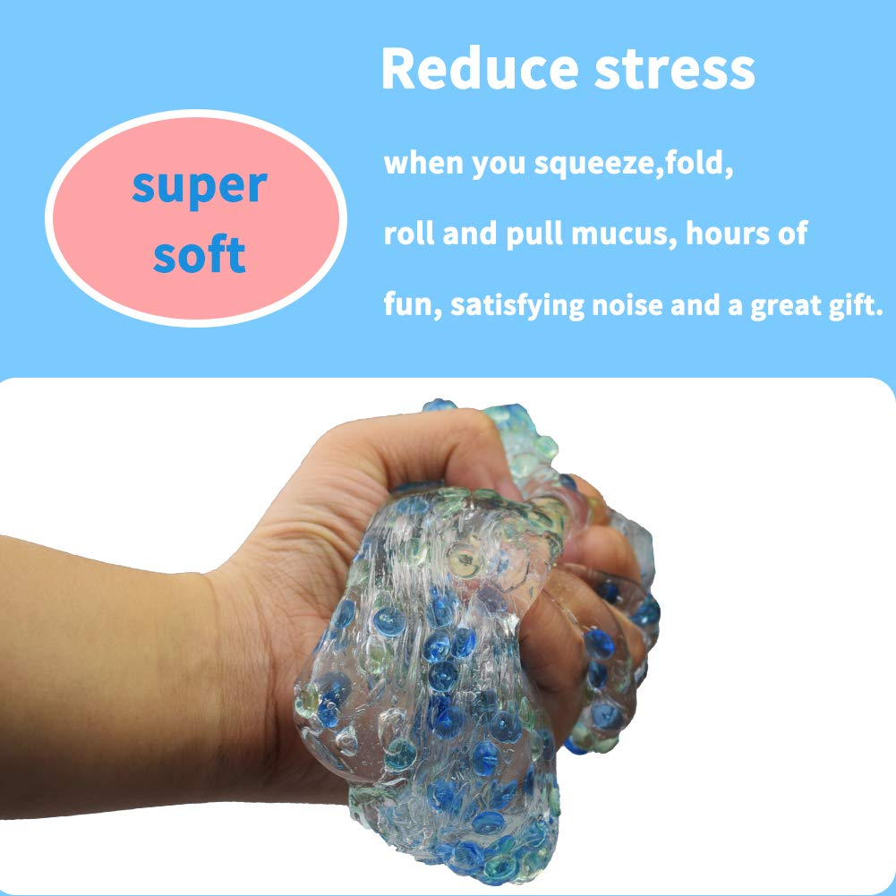 200ml Fluffy Floam Slime Flat Beads Mud Stress Relief Scented Sludge Toy for Kids Adults Green+Light Blue Swallowzy Crystal Slime Putty with Fishbowl Beads