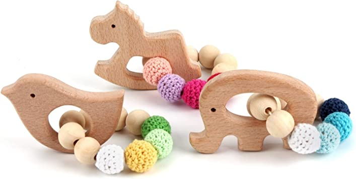 Childs Wooden Pineapple Beech Wooden DIY Food Grade Teething Teether Toys 8C