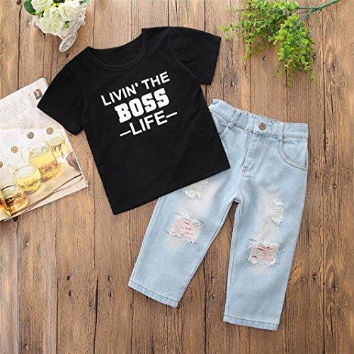 Pullover Estate Top Nero Neonato Ragazzo pantaloni corta Maglietta a T BYSTE Stampa Camicetta brandelli di Bambino Jeans Bambini Felpa Manica Shirt lettere Camicie z5x7qaOxn