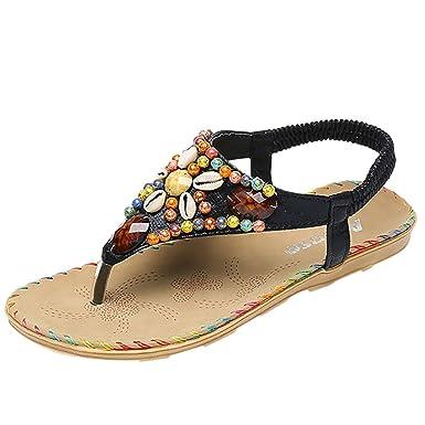 128a560b1030 Women s Flat Sandals Summer Bohemian Elastic Strap Flip Flop Casual Ethnic  Rhinestone Slipper String Thong Roman