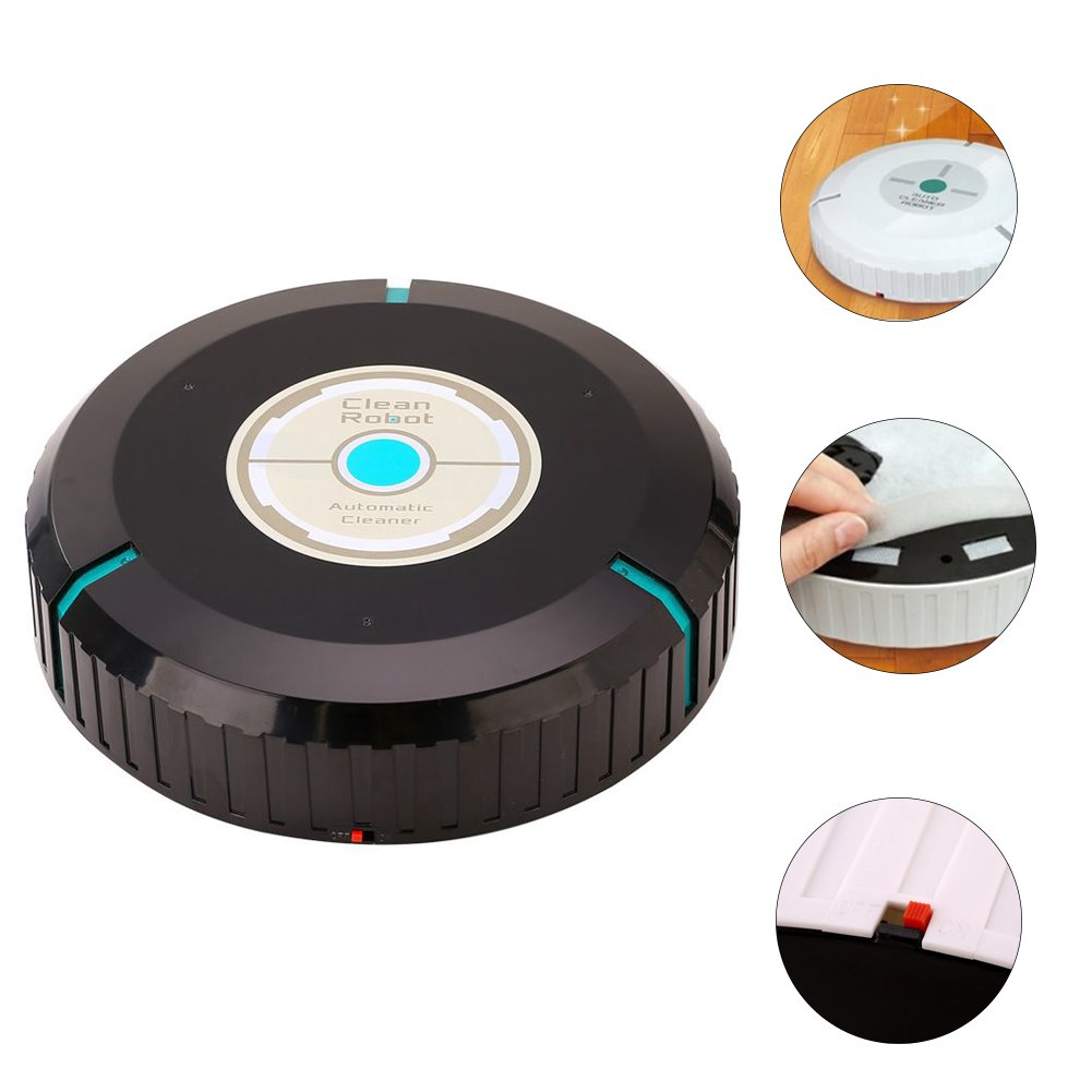 Wireless Home Robotic Smart Auto Cleaner Robot Toy, Robotic Clean Helper Sweep Robot Toy for Children or Pets (Black)