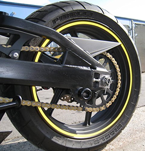 - Golden Yellow Reflective Wheel Rim Stripe Decal Tape for Motorcycle Wheels 17