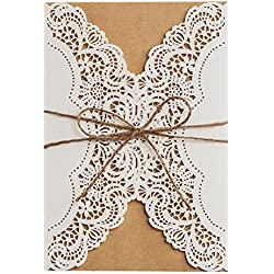 "50X WISHMADE 5"" X 7"" White Laser Cut Wedding Invites Invitation Kit with Rustic Rope Envelope for Engagement Housewarming Quincenera Bridal Shower Pk14113"