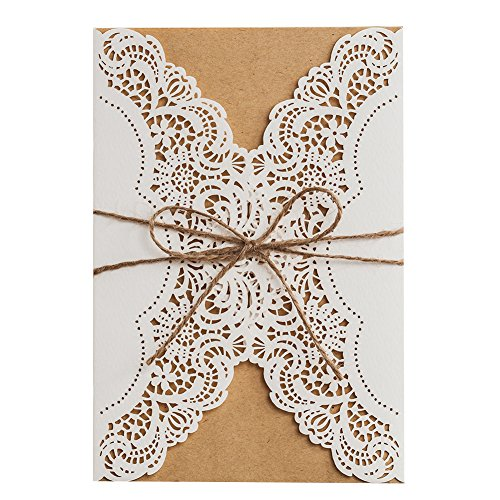 50 WISHMADE 5x7 inch White Laser Cut Wedding Invites Kit with Rustic Rope Envelope, Printable Blank Birthday Invitations for Quincenera Engagement Bridal Shower
