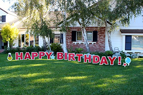 Yard Card HBDALL Happy Birthday (Generic Unisex) Outdoor Announcement Decoration Card Yard Sign Comes 22 Inches High with Stakes (Birthday Happy Lawn Sign)