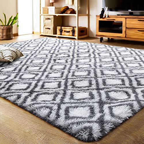 LOCHAS Luxury Velvet Shag Area Rug Mordern Indoor Plush Fluffy Rugs, Extra Soft and Comfy Carpet, Geometric Moroccan Rugs for Bedroom Living Room Girls Kids Nursery (5x8 Feet, Grey/White, HS4)