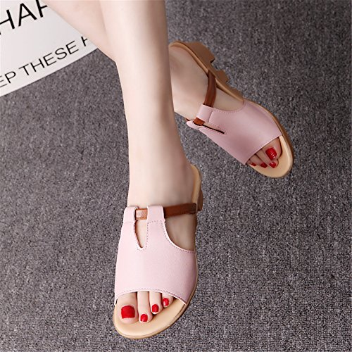 Good Night Ladies Comfortable Non-skid Leather Peep-toe Wedges Sandal Low Heel Slipper Pink poGI9Pl