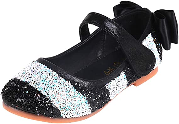 CYBLING Girls Glitter Mary Jane Sequin Bowknot Princess Dress Wedding Party Low Heel Shoes