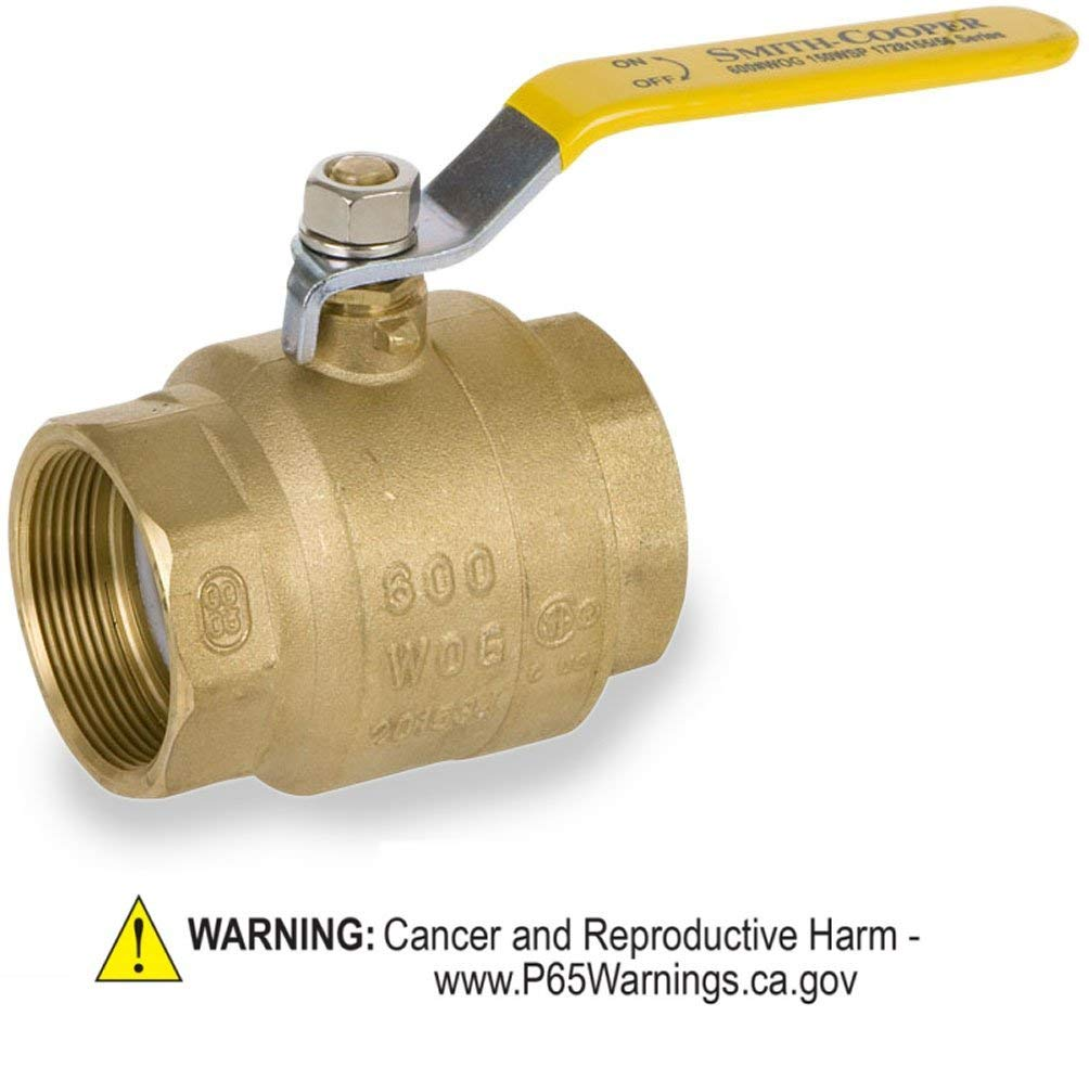 Smith-Cooper International 8155 Series Brass Ball Valve, Inline, Lever Handle, 2'' NPT Female, Non-Potable Water Use Only