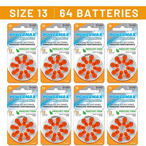 Powermax Size 13 Hearing Aid Batteries, Orange Tab, Long Lasting, Made In the USA, 64 Count