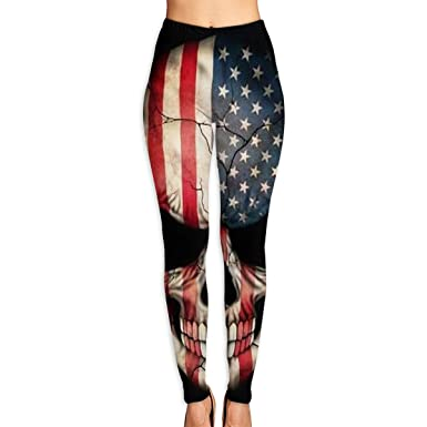 b2fe94cefaea Amazon.com: Cool American Flag Skull Women Funny Print Yoga Leggings Pants  Workout Fitness Pants Sports Gym Yoga Quick Dry Capri Leggings: Clothing