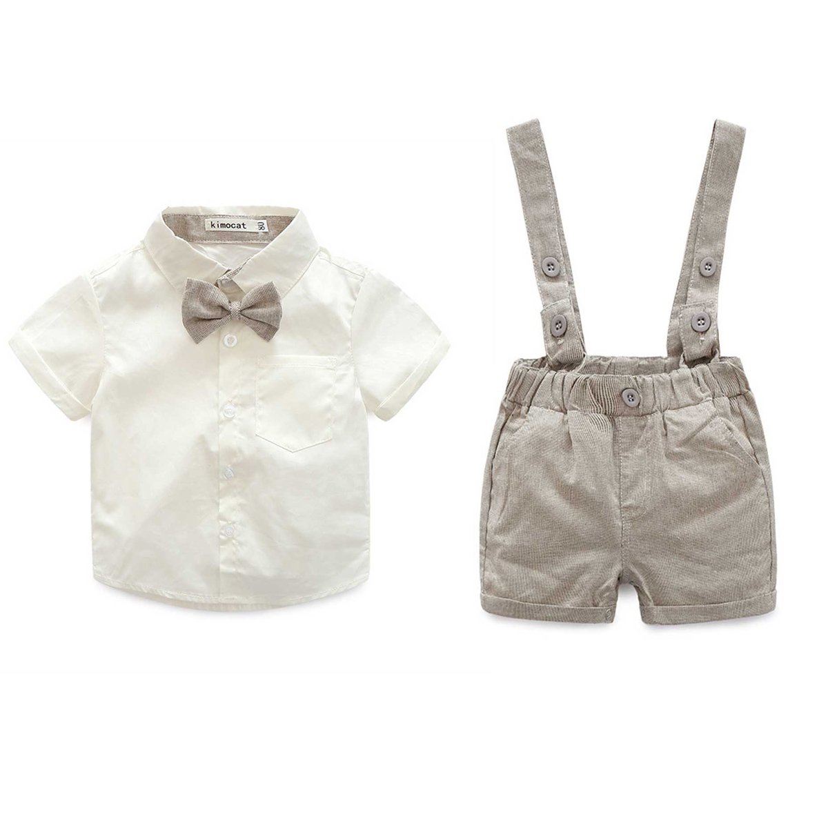 Baby Boys 2Pcs Christening Suits Bowtie Shirt Top + Suspenders Strap Shorts, Formal Kids Party Outfit Gentleman Clothing Sets 0-24 M