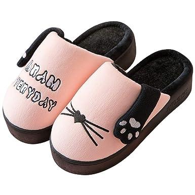 Zapatillas De Casa De Invierno Que Hacen Señas Con El Gato Zapatillas Antideslizantes De Interior Cálidas: Amazon.es: Ropa y accesorios