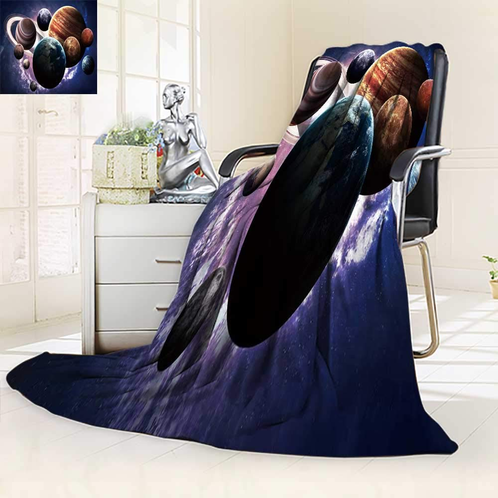 YOYI-HOME Soft Warm Cozy Throw Duplex Printed Blanket E h High Resolution Images Presents Planets of The Solar System Fuzzy Blankets for Bed or Couch/59 W by 47'' H