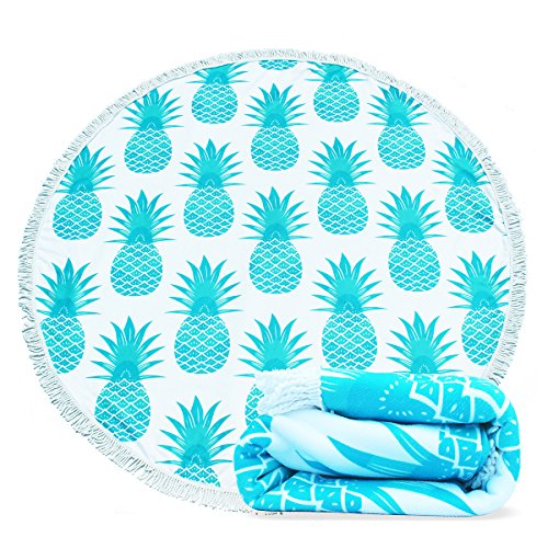 Filly Wink Round Beach Towel Microfiber, Pineapple Large Roundie Thick Beach Blanket Tapestry Throw Yoga Picnic Mat with Tassels Ultra Soft Room Decor Multi-Purpose Towel 59 inch Teal