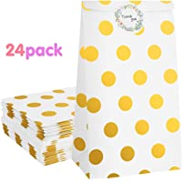 Zooawa [24 PACK] Party Favor Bags - Yellow Dots White Craft Paper Gift Bags, Goodie Candy Treat Bags with Thank You Stickers for Wedding Birthday Baby Shower Tea Party Décor - Yellow