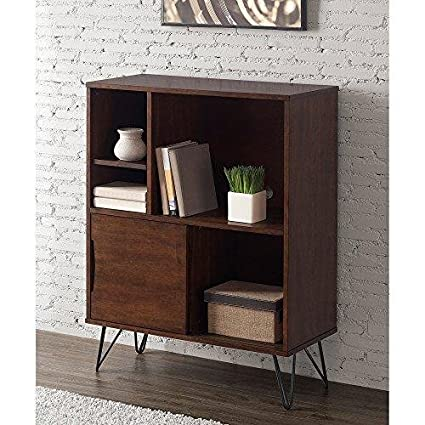 ModHaus Living Mid Century Modern Wooden Bookshelf Media Console Cabinet With Hairpin Legs