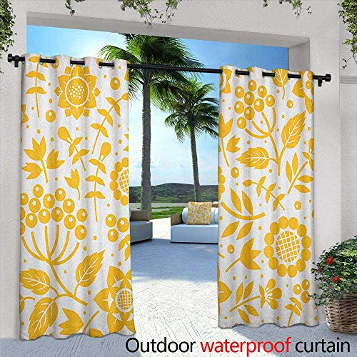 Marilds Yellow Flower Curtains for Living Room Rustic Composition with Berries Twigs Graphic Flora Nature Leaves Pattern Curtains for Living Room 84