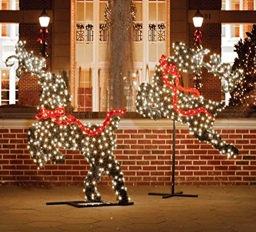 Reindeer Topiary (Northlight Giant Commercial Grade LED Lighted Flying Reindeer Topiary Yard Art Christmas Decoration, 6')