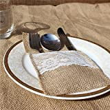 Natural Burlap Silverware Napkin Holder Knife Fork Cutlery Lace Pouch - 4 x 8 Inch,50 Pack - Tableware Utensils Bag for Rustic Wedding Party Bridal Baby Shower Christmas Decorations Gifts (50)