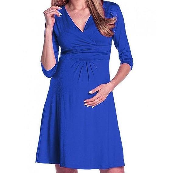 BBsmile premamá Camisetas, Mujeres Embarazo V Collar Vestido de Maternidad Verano Color sólido Ropa de