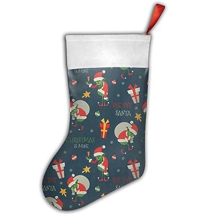 Grinch patrón terciopelo gran tamaño Classic medias de Navidad decoración para árbol de Navidad decoración