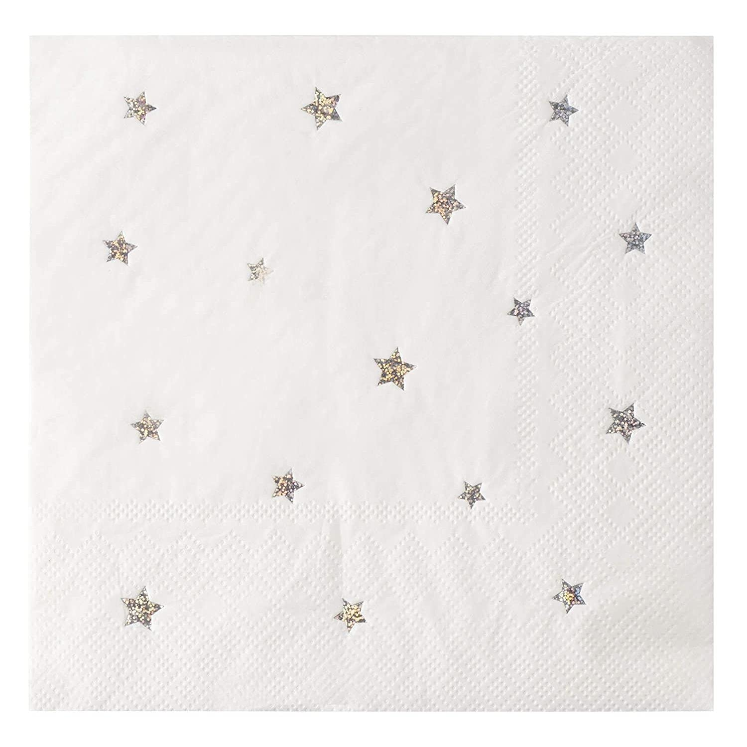 Star Paper Napkins, Silver Glitter Starry Birthday Party (6.5 Inches, 50 Pack)