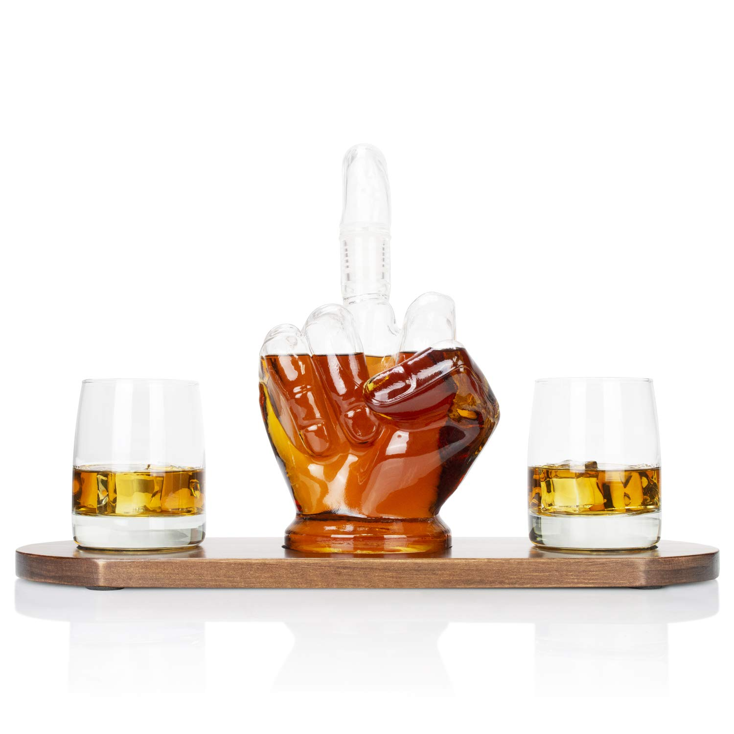 Atterstone Middle Finger 4 Piece Whiskey Decanter Bar Set, Includes Novelty 1000 ml Decanter with Removable Middle Finger Stopper, 2 Tumbler Drinking Glasses, and Wooden Base, 9.3 Inches x 4 inches