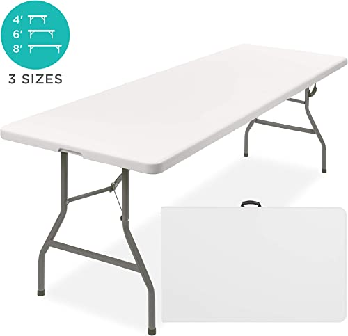 Best Choice Products 8ft Indoor Outdoor Heavy Duty Portable Folding Plastic Dining Table w Handle, Lock for Picnic, Party, Camping – White