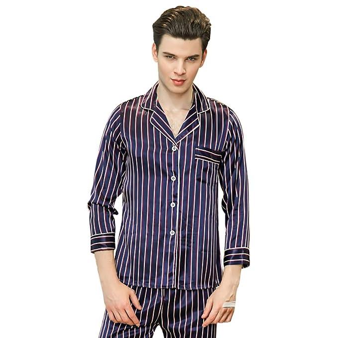 WanYangg Hombre Set De 2 Piezas Pijamas De Satén Elegante Sleepwear Estampado Raya con Mangas Largas