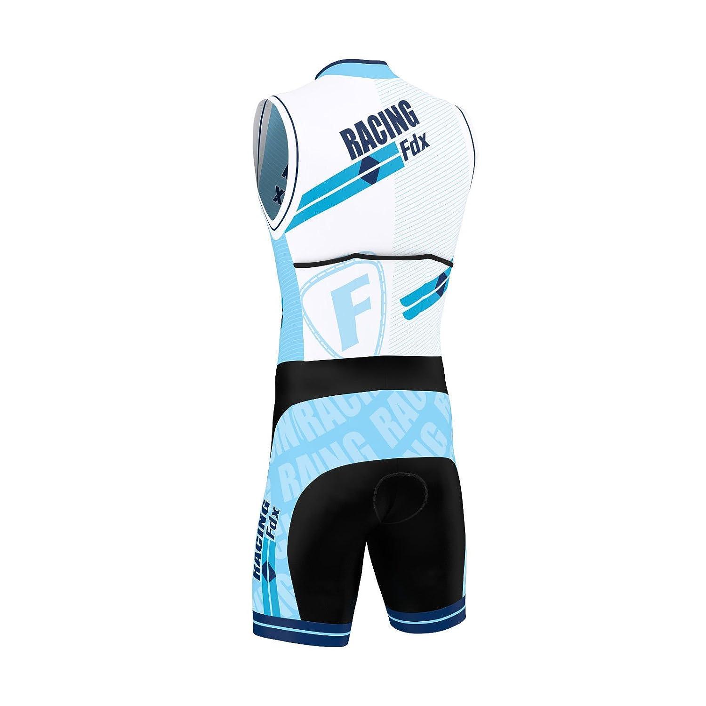 FDX Herren-Triathlonanzug mit Sublimationsdruck Rennhaut mit gepolsterter Kompression zum Laufen Schwimmen,Radfahren.
