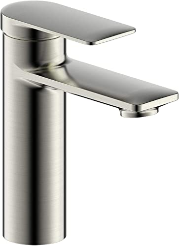 Fontaine by Italia Pont Neuf, MFF-PNC1-BN, Modern Contemporary Single Handle Single Hole Bathroom Sink Basin Faucet Tap Fixture with Flat Lever Handle without Drain in Brushed Nickel