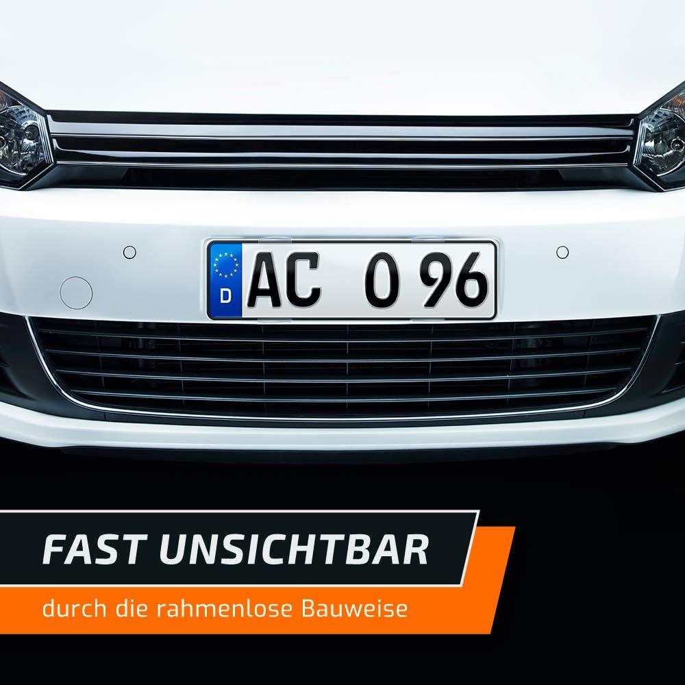 schildEVO Kennzeichenhalter rahmenlos durchsichtige Nummernschildhalter klar Simple Fix CRYSTAL transparent Set f/ür 2 Autokennzeichen