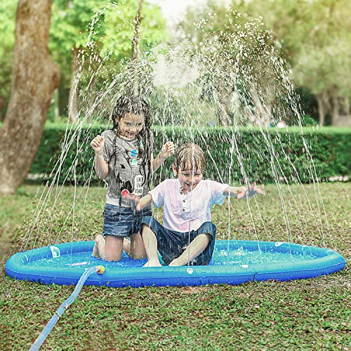 "KKONES Sprinkler pad & Splash Play Mat 68"" Toddler Water Toys Fun for 1 2 3 4 5 Year Old Boy Girl, Kids Outdoor Party Sprinkler Toy"