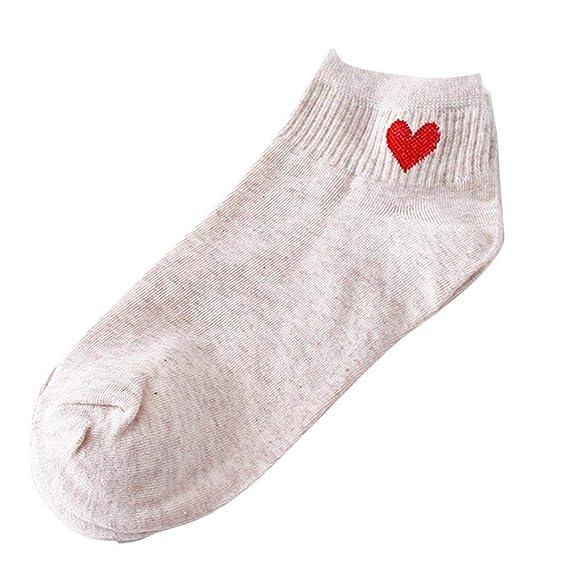 VJGOAL Mujer Otoño E Invierno Moda casual En forma de corazón Respirable antideslizante Calcetín de algodón Calcetines cómodos(Un tamaño, Beige): Amazon.es: ...