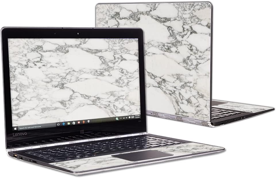 """MightySkins Skin Compatible with Lenovo Yoga 900 13.3"""" Screen wrap Cover Sticker Skins White Marble"""
