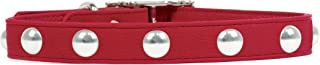 product image for Rockin Doggie Domed Rivets Leather Dog Collar, 1/2 by 10-Inch, Red
