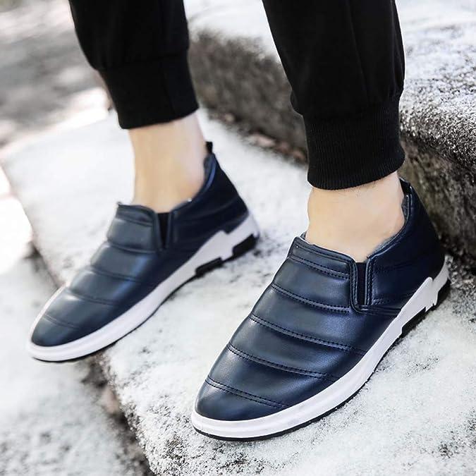 Mocasines Hombre Zapatillas Deporte Hombres Zapatos De Terciopelo De Winter Plus para Hombre Zapatos De Algodón para El Hogar Botas para La Nieve: ...