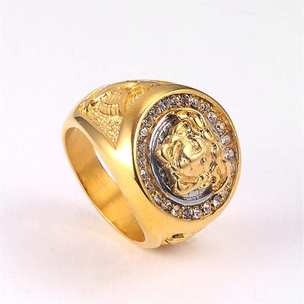 Guraxi Hommes Glac/é M/éduse Visage Grec Mythologie Diamant dor Plaqu/é Acier Inoxydable Anneaux
