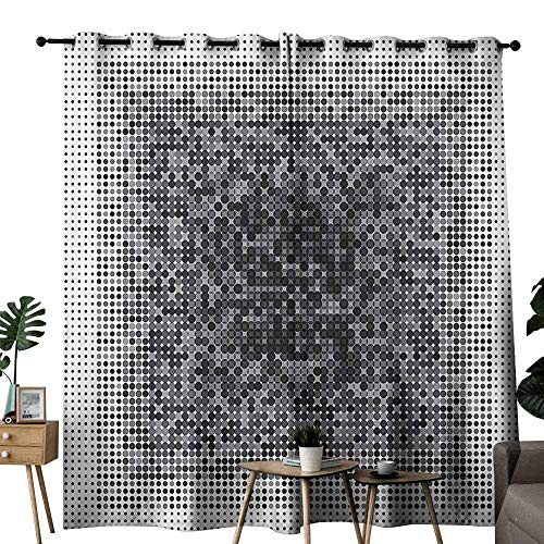 (duommhome Modern Art Home Decor Insulated Curtains Digital Futuristic Pixel Tech-Art with Dots Spots Artificial Pattern Block Light Protection Privacy W72 xL62 Grey Black)