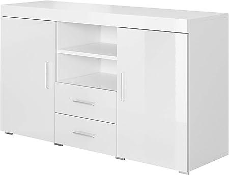 muebles bonitos Aparador Moderno Modelo Roque Blanco de melamina Brillo Ancho 140cm Alto 80cm Profundo 40cm