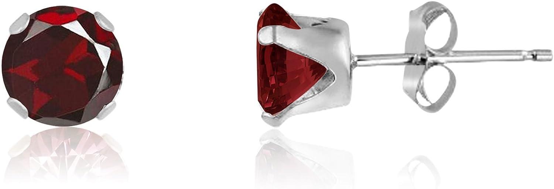 Kezef redondo 5 mm auténtica rojo, granate 925 Broche de plata de ley Juego de pendientes de tuerca