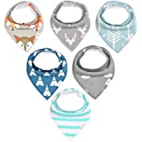 FinalHome Baby Absorbent Cotton Drool Bandana bib, 6 Pack Gift set for Drooling and Teething Unisex Newborn (A.pattern)