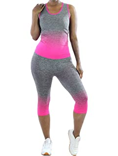 48562eea03a273 Women's Yoga Tank Top and Leggings Set (Neon Orange, One Size) at ...
