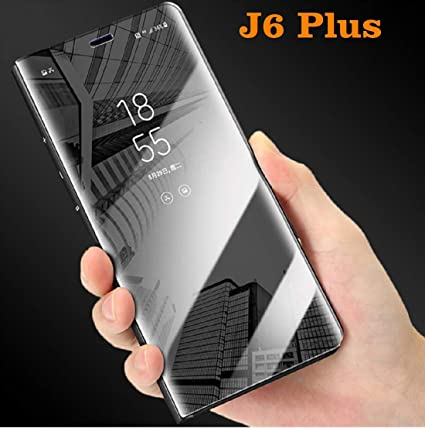 buy online e847c 4a2a9 WPRIE ACCESSORIES Luxury Mirror Clear View Leather Standing Flip Cover for  Samsung Galaxy J6 Plus (Black)