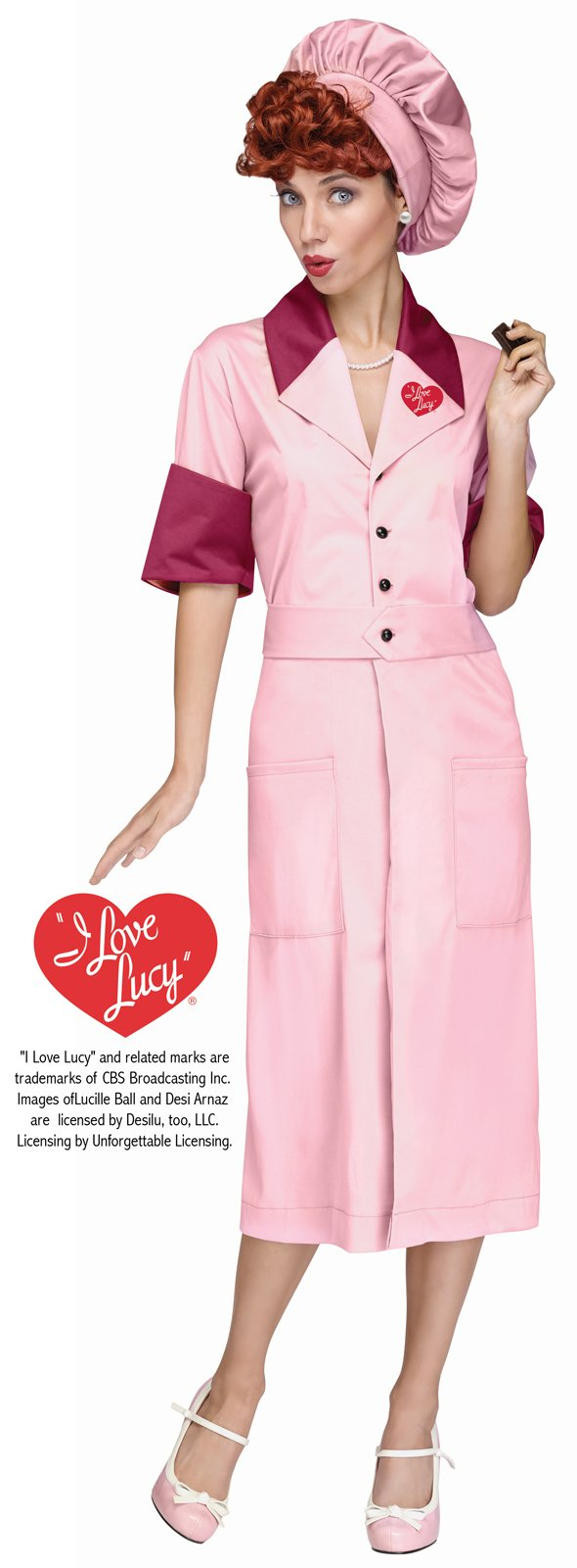 Fun World Women's Licensed I Love Lucy Candy Factory Dress, Multi, M/L Size 10-14