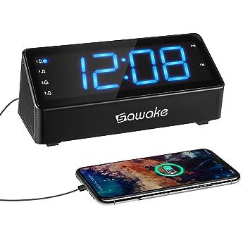 SAWAKE Reloj Despertador Digital, Reloj Despertador Doble con Radio FM con Puerto de Carga USB