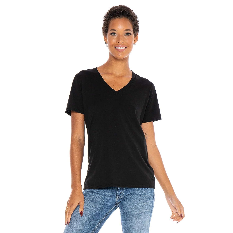 Black Women's Designer TShirt Lightweight Boyfriend Fit Short Sleeve VNeck Organic Cotton PreShrunk Embroidered Made in USA