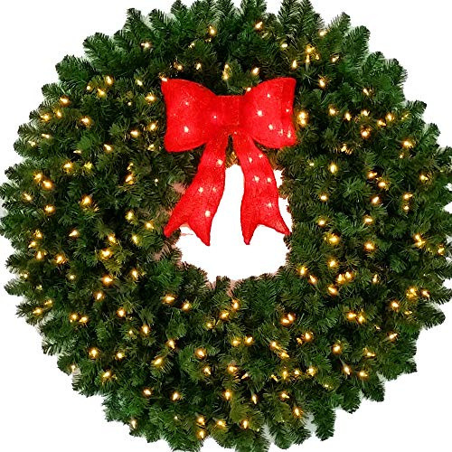 4 Foot L.E.D. Christmas Wreath with Pre-lit Red Bow - 48 inch - 200 LED Lights - Indoor - Outdoor (Wreath Pre Lit Outdoor 48)